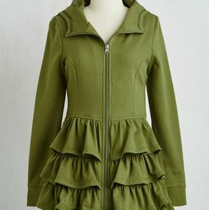 Modcloth olive green tiered hoodie
